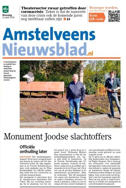 22-4-2010: Amstelveens Nieuwsblad; Hans Bulsing en Herbert Raat bij monument Joodse slachtoffers Amstelveen-krantversie