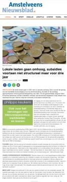 14-10-2020; Amstelveens Nieuwsblad; Herbert Raat over begroting 2021 Amstelveen en de invloed van corona