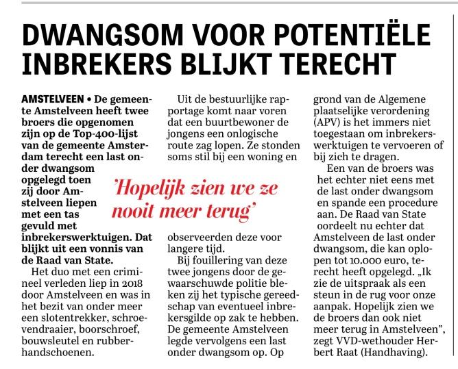 20-10-2020-De Telegraaf-Herbert Raat over inbrekers