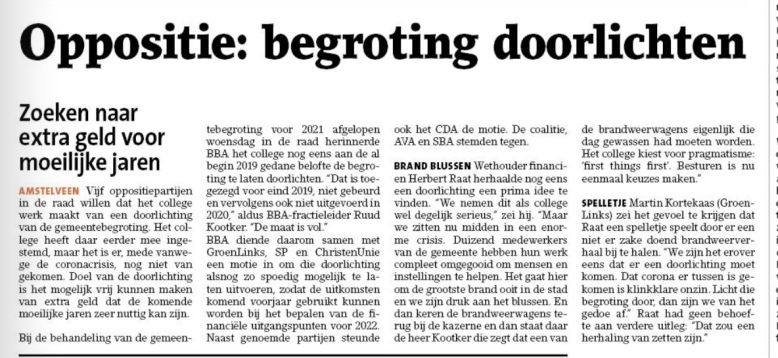 18-11-2020; Amstelveens Nieuwsblad; Wethouder Herbert Raat VVD in discussie met Ruud Kootker van BBA over waarom je tijdens een crisis andere prioriteiten belangrijk zijn