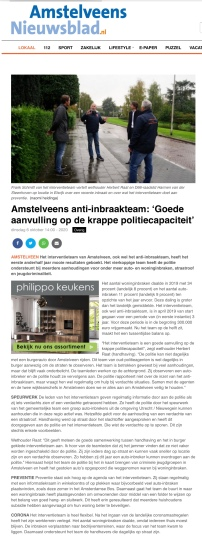 2020-6-10; Amstelveens Nieuwsblad; Harmen van der Steenhoven en Herbert Raat op bezoek bij Amstelveens anti-inbraakteam