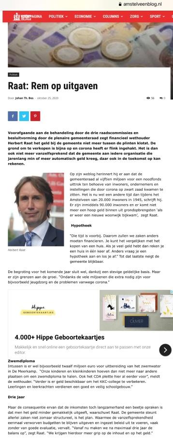 25-10-2020; Amstelveenblog.nl; Herbert Raat over begroting 2021 corona