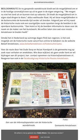 2020-5-11; Amstelveens Nieuwsblad interview met Herbert Raat over historische routes en het Amstelveengevoel 4 van 4