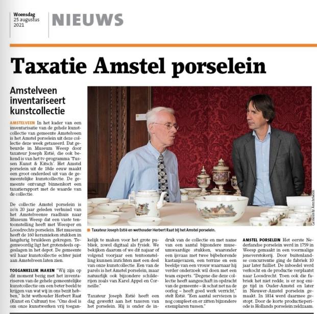 25-8-2021; Amstelveens Nieuwsblad; Herbert Raat over taxatie Amstel porselein