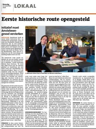2020-11-11; Amstelveens Nieuwsblad; Herbert Raat interview over historische routes. krantversie