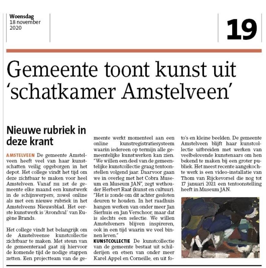 18-11-2020; Amstelveens Nieuwsblad; Herbert Raat over verborgen kunst in Amstelveen