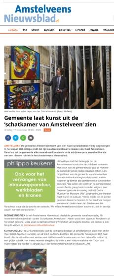 18-11-2020; Amstelveens Nieuwsblad; Herbert Raat over verborgen kunst in Amstelveen internetversie