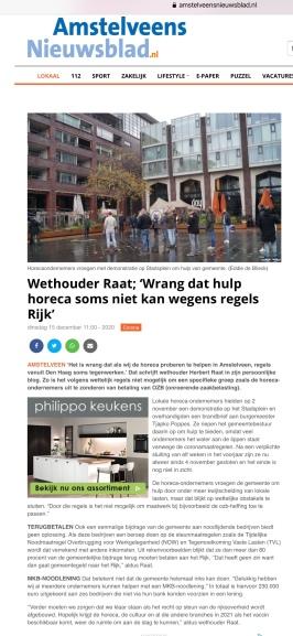 16-12-2020; Amstelveens Nieuwsblad; Herbert Raat over hulp aan de horeca internetversie