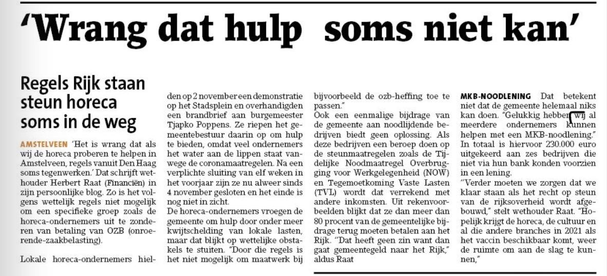 16-12-2020; Amstelveens Nieuwsblad; Herbert Raat over hulp aan de horeca krantversie