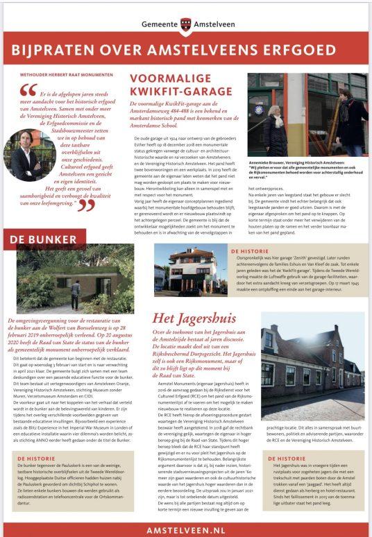 3-2 -2012; Amstelveens Nieuwsblad: Herbert Raat over stand van zaken Erfgoed Amstelveen waaronder Het Jagershuis