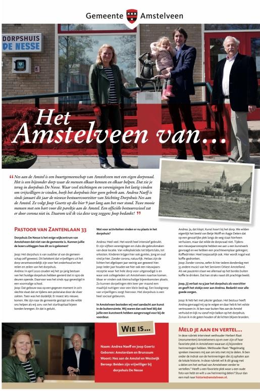 28-5-2021; Interview Herbert Raat met Andrea Naeff en Joop Goertz in in Nes aan de Amstel voor de rubriek Het Amstelveen van... nummer 3