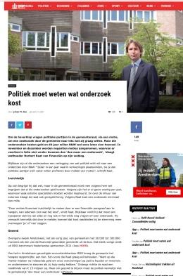 22-1-2021; Amstelveenblog.nl; Herbert Raat over de vele onderzoeken en kosten