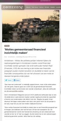 28-1-2021: AmstelveenZ: Herbert Raat over het inzictelijk maken kosten onderzoek