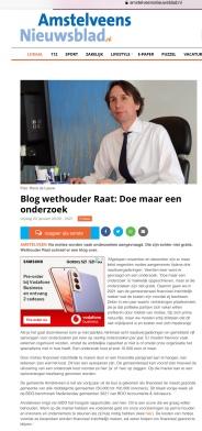 22-1-2021; Het Amstelveens Nieuwsblad; Herbert Raat over de vele onderzoeken en kosten
