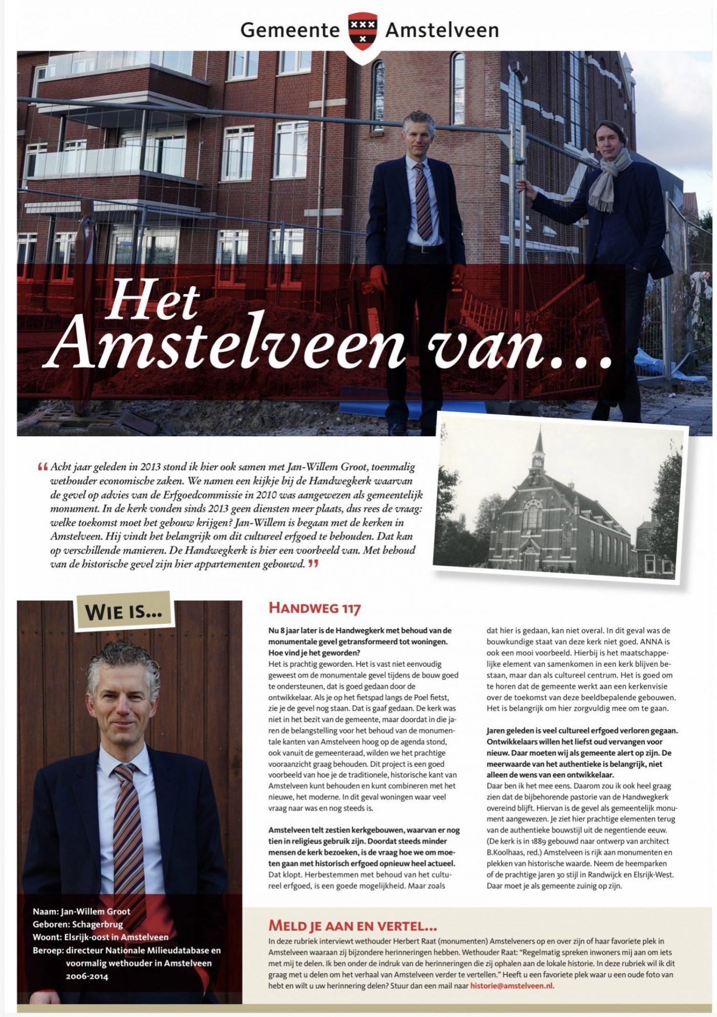 2021;Interview Herbert Raat met Jan Willem Groot voor de rubriek: Het Amstelveen van...(1)