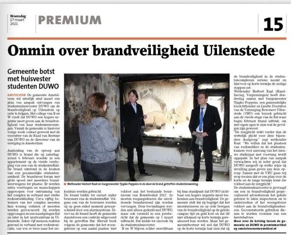 13-3-2021; Amstelveens Nieuwsblad; brandveiligheid Uilenstede bezoek Wethouder Herbert Raat en burgemeester Tjapko Poppens