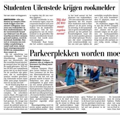 7-4-2021; De Telegraaf; Herbert Raat over onderhandelingen DUWO voor rookmelders studenten Uilenstede.