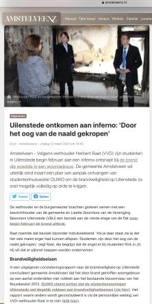 12-3-2021; AmstelveenZ; Herbert Raat over brand Uilenstede Amstelveen 1 van 2