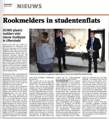 7-4-2021; Amstelveens Nieuwsblad; Herbert Raat over onderhandelingen DUWO voor rookmelders studenten Uilenstede.