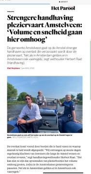 7-6-2021-Het Parool; Herbert Raat over handhaving op de Amstel in Amstelveen 1 van 2
