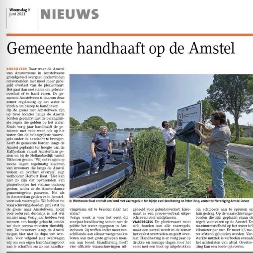7-6-2021-Het Amstelveens Nieuwsblad; Herbert Raat over handhaving op de Amstel in Amstelveen