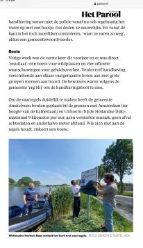 7-6-2021-Het Parool; Herbert Raat over handhaving op de Amstel in Amstelveen 2 van 2