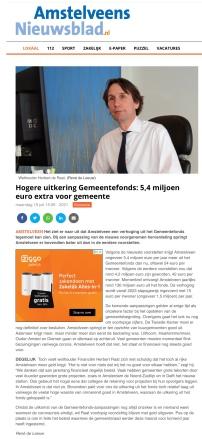 19-7-2021; Amstelveens Nieuwsblad; Herbert Raat over ontwikkeling